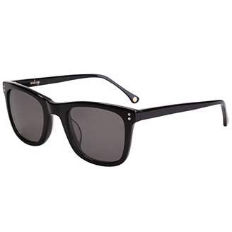 MAREINE Sunglasses Unisex Square Sunglasses Brown Lens/Black Frame