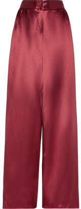 Bottega Veneta Satin Wide-leg Pants - Crimson