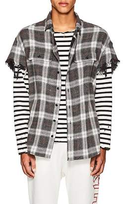 R 13 Men's Plaid Cotton Oversized Cut-Off Shirt
