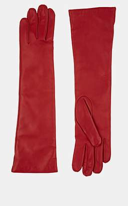 Barneys New York Women's Cashmere-Lined Leather Long Gloves - Red