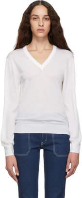 Chloé White Wool V-Neck Sweater