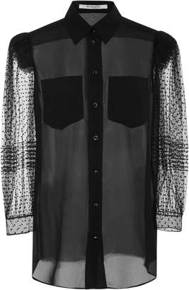 Givenchy Flocked Silk Crepe De Chine Blouse