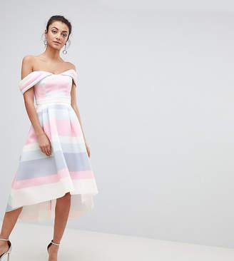 Bardot ASOS Tall ASOS TALL Cold Shoulder Dip Back Pastel Stripe Prom Dress