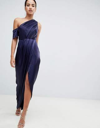 Asos Design Hammered Satin One Shoulder Maxi Dress