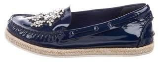 Miu Miu Embellished Patent Leather Espadrilles