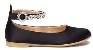 Aquazzura 'Chateau' crystal embellished ankle strap satin toddler ballet flats