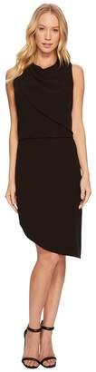 Halston Sleeveless Round Neck Drape Front Dress Women's Dress