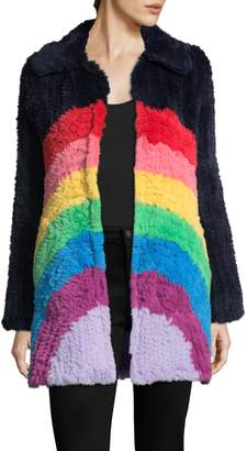 Manoush Women's Rainbow Rabbit Fur Coat
