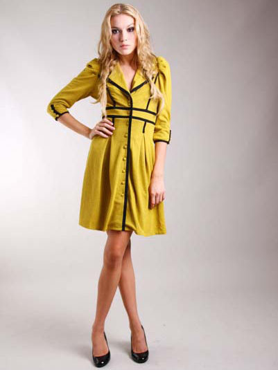 Hype Mustard Orion Coat Dress