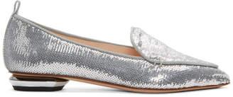 Nicholas Kirkwood Silver Sequin Beya Loafers