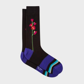 Men's Black Colour Block And Floral Socks $30 thestylecure.com