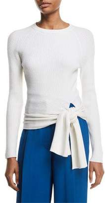 3.1 Phillip Lim Ribbed Pullover Sweater with Waist Tie