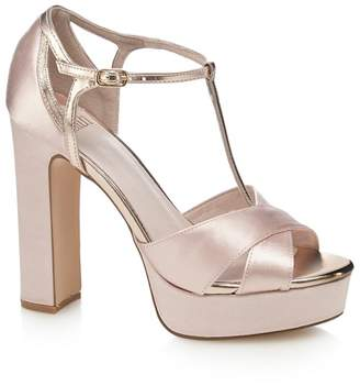 Faith Pink Satin 'Lauren' High Heel Platform T-Bar Sandals
