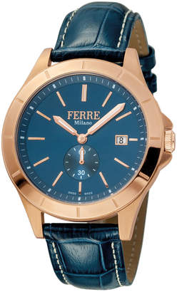 Ferré Milano Men's 43mm Stainless Steel Date Sub-Seconds Diver Watch with Leather Strap, Rose/Brown/Navy