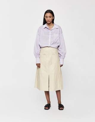 54c526a3a4 Mijeong Park Vegan Leather A-Line Skirt in Cream