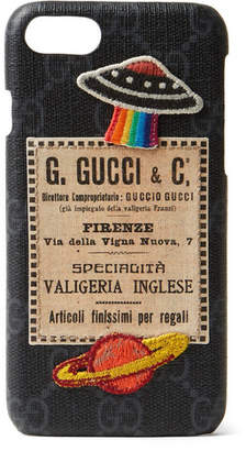Gucci Appliqued Monogrammed Coated-Canvas iPhone 7 Case - Black
