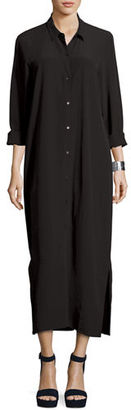 Eileen Fisher Crinkled Crepe Maxi Shirtdress $338 thestylecure.com