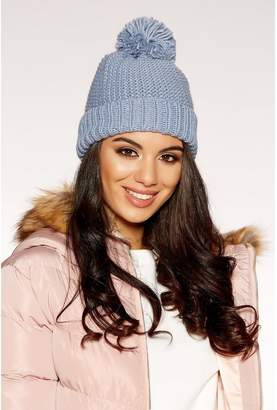 Quiz Blue Knit Pom Pom Hat