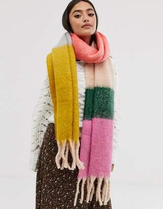 a5ac6ddcd3b77 Asos Design DESIGN oversized fluffy multi block stripe woven scarf