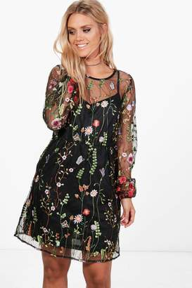 boohoo Plus Embroidered Skater Dress