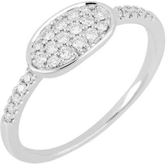 Bony Levy 18K White Gold Oval Pave Diamond Stacking Ring - Size 6.5 - 0.20 ctw