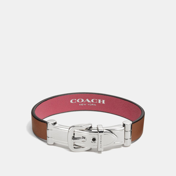 Coach   COACH Coach Wide Two Tone Glovetanned Leather Buckle Bracelet