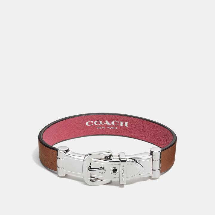 Coach  COACH Coach Wide Two Tone Glovetanned Leather Buckle Bracelet