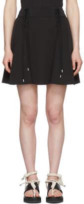 Carven Black Crepe Lace-Up Flared Miniskirt