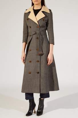 Khaite The Charlotte Trench In Brown Tweed