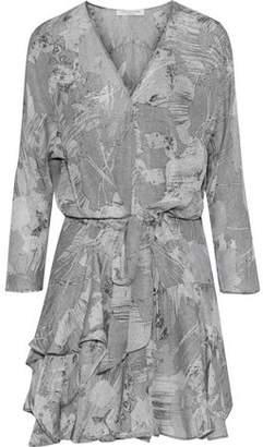 Halston Ruffled Printed Silk-Chiffon Mini Dress
