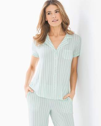 Cool Nights Short Sleeve Notch Collar Pajama Top Relaxed Stripe Brook