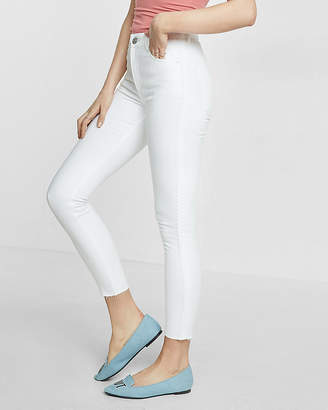 Express White High Waisted Side Stripe Stretch Ankle Jean Legging