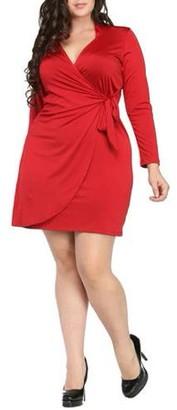24/7 Comfort Apparel Women's Plus Size Deep V-neck Long Sleeve Dress