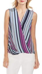 Vince Camuto Boardwalk Stripe Faux Wrap Top