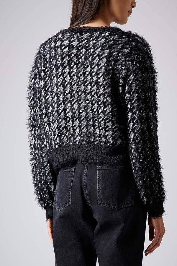 Topshop Knitted Silver Dogtooth Cardi