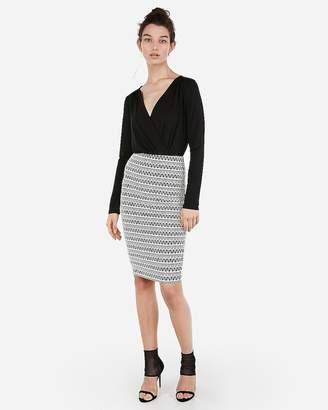 Express Petite High Waisted Geometric Pencil Skirt