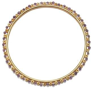 Satya Jewelry Women's Amethyst Gold Wrapped Bangle Bracelet