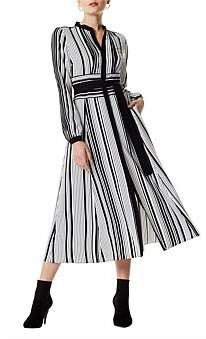 Karen Millen Graphic Stripe Midi Dress
