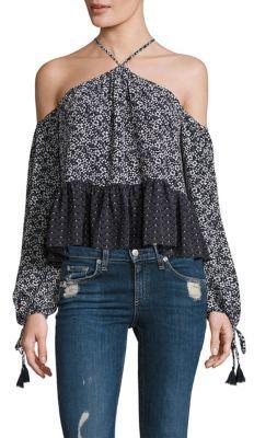 Tularosa Syrah Floral Cold Shoulder Top $138 thestylecure.com