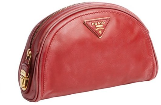 Prada red distressed leather cresent cosmetic case