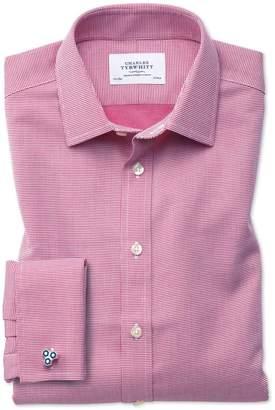 Charles Tyrwhitt Slim Fit Non-Iron Square Weave Magenta Cotton Dress Shirt French Cuff Size 15.5/35
