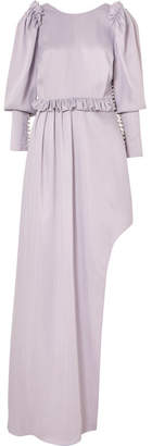 Magda Butrym Playa Ruffle-trimmed Embellished Satin Midi Dress - Lilac