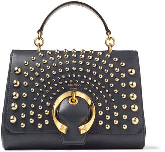 Jimmy Choo MADELINE TOP HANDLE Dusk and Gold Calf Leather Top Handle Bag with Degrade Round Studs and Metal Buckle