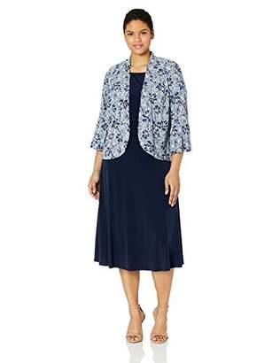 Jessica Howard Plus Size Womens Flutter Sleeve Ruched Waist Jacket Dress