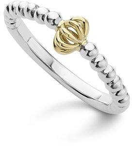 Lagos Caviar Icon 18K Gold and Sterling Silver Fluted Bead Stacking Ring
