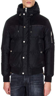 The Kooples Suede and Leather Panel Down Jacket