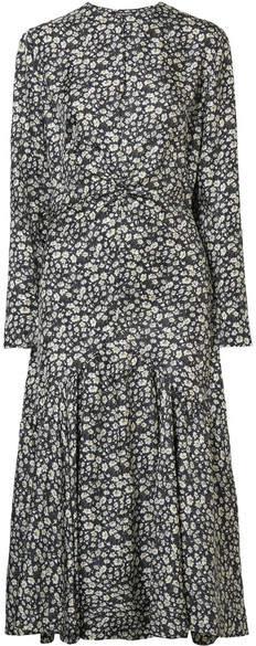 CALVIN KLEIN 205W39NYC - Floral-print Silk-twill Midi Dress - Black