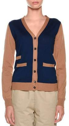 Marni V-Neck Colorblock Button-Front Knit Cardigan