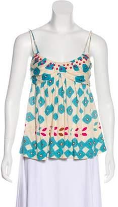 Diane von Furstenberg Linen Embellished Printed Sleeveless Top