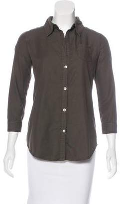 Elizabeth and James Three-Quarter Sleeves Button-Up Top